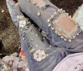 Hole diamond beaded lace embroidered jeans