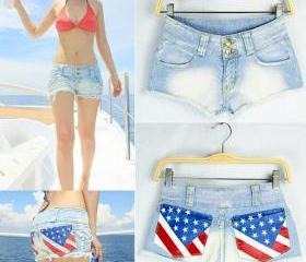 Sexy jeans frayed American flag
