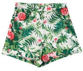 Printed high waist shorts