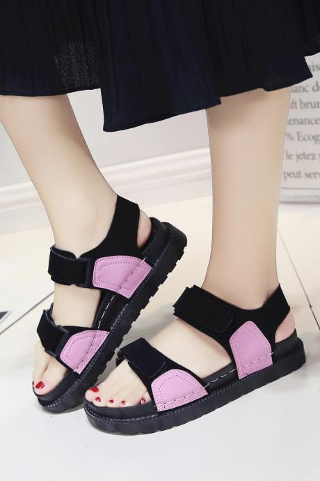 Flat Velcro Roman Sandals Female Students Platform Shoes Large Base Beach Is Cool