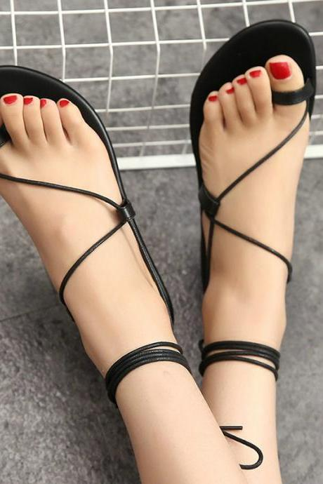 Toe-Ring Lace Up Gladiator Flats
