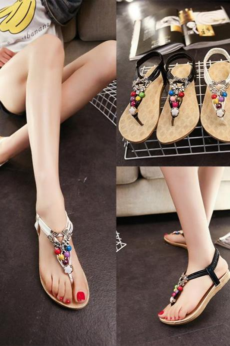 Flat Color Beaded Thong Sandals